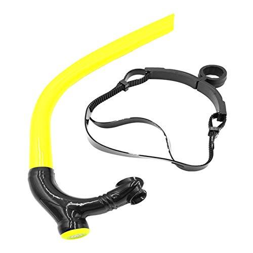 szlsl88 Buceo Snorkel Individual Profesional Buceo Adultos Tubo Snorkel subacuático Entrenamiento respiración Frontal Positiva Natación Silicona Suave Ajustable(Negro)