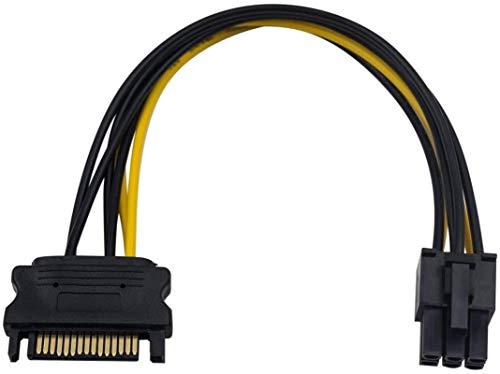 PFTHDE Cable Adaptador de Corriente SATA 15 Pines SATA a 6 Pines Molex Macho a Hembra Cable de alimentación de Tarjeta gráfica para Disco Duro IDE 0,66 pies / 0,20 m