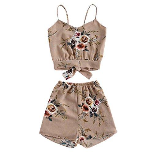 TUDUZ Shorts und Top Sets Damen Sommer Strand Zweiteiler Schulterfrei Sunflower Printed Beachwear Chiffon Boho Ärmellos Crop Tops (Rosa, S)