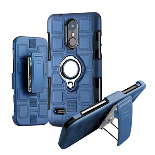 Mobestech 1PC Phone Case with Back Clip Shockproof Ring Car Magnetic Three -Layer TPU PC Shell Cover Case for LG K4 2017 Dark Blue