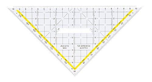 Aristo TZ Dreieck mit festem Griff AR1650/2 (Hypotenuse 22,5 cm, Tuschenoppen, hochwertiges Plexiglas, Made in Austria) 1 Stück