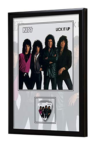 We Love Guitars Kiss Lick It Up EGA Gerahmtes Albumcover Gitarren-Pick-Display gerahmt