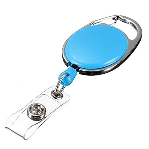 N\A DIY & EDC Multitools Schlüsselanhänger ID-Kartenhalter-Halter Aufwickelvorrichtung Keyring Clip Retractable Karabiner Recoil Schlüsselring Kinder Erwachsene (Farbe : Blue)