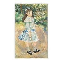 zkpzk シトンピエールオーギュストルノワール《フープの少女》キャンバス油絵有名アートポスター写真壁の装飾家の室内装飾-60X80Cmx1フレームなし