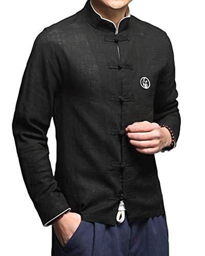 Chinesische Kleidung Tang-Stil Jacke Traditionelle Kung Fu Tai Chi Lange Ärmel Jacke Uniform Von Maßschneider Schwarz 3XL
