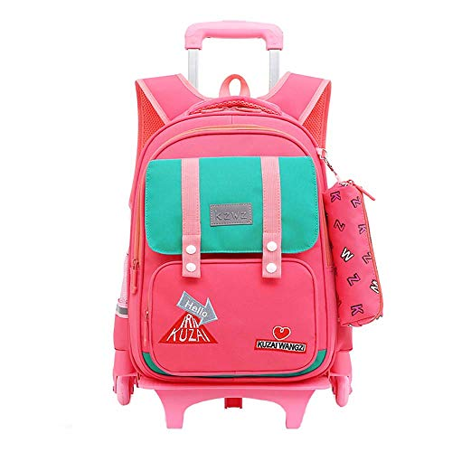 Rolling Backpack 2 Wheels Trolley Bag School Bags for Boys Childrens Luggage on Wheels School Backpack for Boys with Wheels Kids Rucksack Student Bags GWBI-Pink