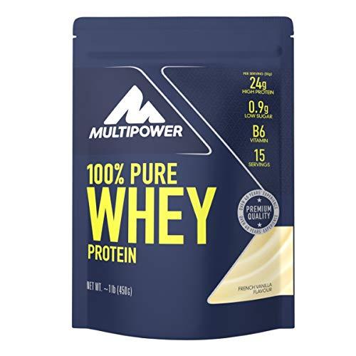 Multipower 100% Pure Whey Protein – wasserlösliches Proteinpulver mit Vanille Geschmack – Eiweißpulver mit Whey Isolate als Hauptquelle – Vitamin B6 und hohem BCAA-Anteil – 450 g