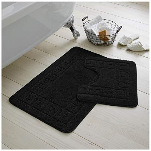 Gaveno Cavailia Ultra Plush Lot de 2 Tapis de Bain antidérapants 100 % polypropylène pour Salle de Bain et Toilettes, Taille Standard (50 x 80, 50 x 40 cm), Noir