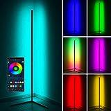LED Stehlampe 20W Dimmbar Stehleuchte mit RGB und Fernbedienung, Modern Farbwechsel Eckleuchte Standlampe für Wohnzimmer Schlafzimmer, Schwarz [Energieklasse A],147x 40cm,Schwarz,APP