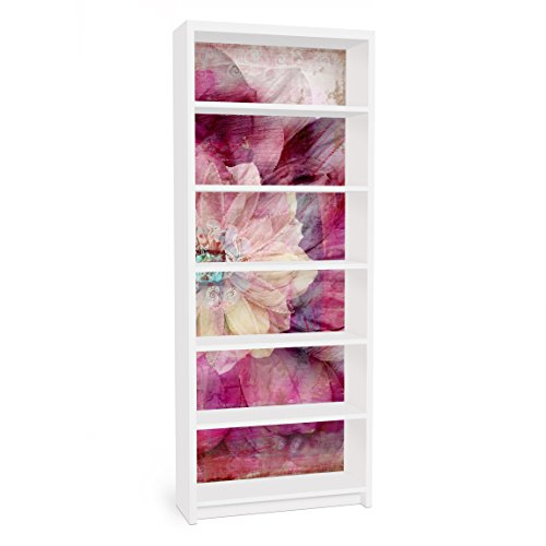 Apalis Vinilo Adhesivo para Muebles IKEA - Billy Bookshelf - Grunge Flower, Größe:2 Mal 94cm x 76cm