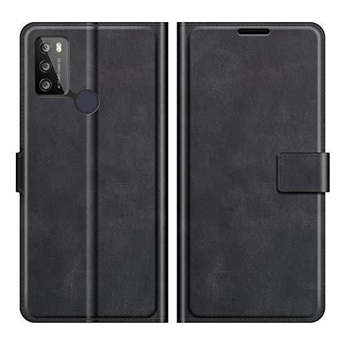 DAMAIJIA für Alcatel 1S 2021 Hüllen Klapphülle PU Leder Silikon Wallet Schutzhülle Schutz Mobiltelefon Flip Back Cover für Alcatel 3L 2021 Tasche Handy Zubehör (Black)