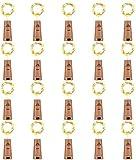 LEDIKON 20 Pack 20 LED Wine Bottle Lights with Cork,3.3Ft Silver Wire Warm White Cork...