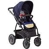 Znesd Poussette bébé for nouveau-né, 2 en 1 poussette bébé, pliable en alliage d'aluminium avec dossier réglable Poussette, Double Anti-Shock (Color : Blue)