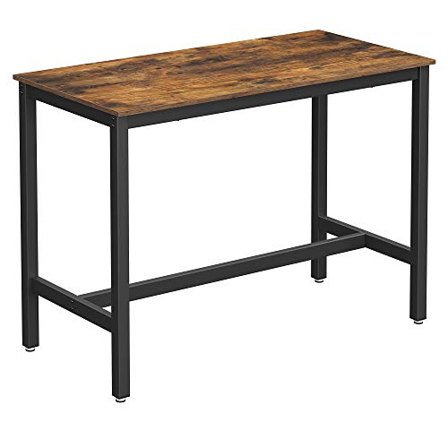 VASAGLE Bar Table, Industrial Kitchen Table, Dining Table With Solid Metal Frame, for Cocktails, Bar, Party Cellar, Restaurant, Living Room, Wood Look, 120 x 60 x 90 cm LBT91X