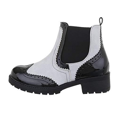 Ital-Design Damenschuhe Stiefeletten Chelsea Boots Synthetik Beige Schwarz Gr. 41