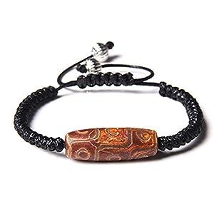 Edelstein Armbändervintage Tibetischen Achat Braun Dzi Bead Stein Leder Geflochtenes Seil Verstellbare Armbänder Lucky Balance Armreif Schmuck Zubehör Unisex Geschenk