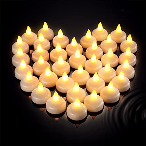 36 Pieces Flameless Floating Candles Waterproof Floating Tealights Candles Warm White Led Flickering Candles Decor for Wedding Party Centerpiece Pool SPA Valentine's Day Bathtub Party Dinner