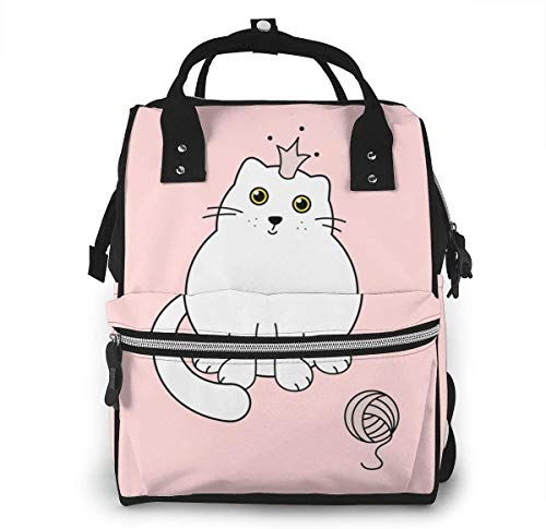 UUwant Sac à Dos à Couches pour Maman Large Capacity Diaper Backpack Travel Manager Baby Care Replacement Bag Nappy Bags Mummy Backpack,(Cute Kitten with A Crown