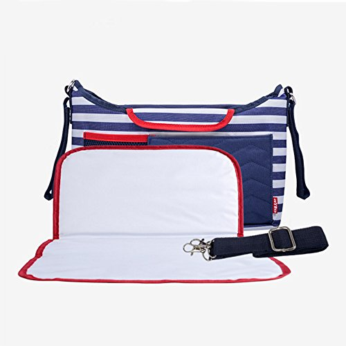 Universal Baby Stroller Organizer Diaper Bag Storage Two Cup Holders with Diaper Pad, Multi-pockets for iPhones/Wallets/Diapers/Books/Toys/Cups Best Gift for Mother's Day