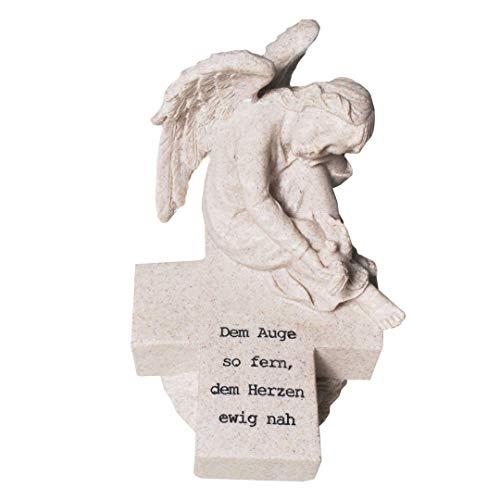 Engel auf Kreuz mit Spruch Dem Auge so fern, dem Herzen ewig nah Grabschmuck Trauerengel Trauerschmuck Grabengelfigur