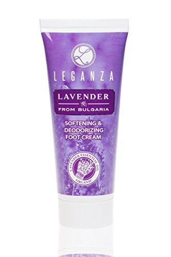 Crema suavizante y desodorante para pies con aceite esencial de lavanda búlgara, Leganza