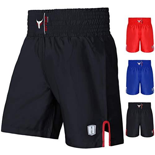 Mytra Fusion Satin Boxing Shorts, MMA Shorts, Combat Shorts, Ring Shorts, Training Shorts (Black, X-Large)