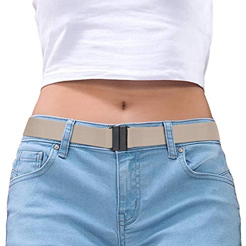 Women Belt Stretch Elastic Invisible Belts for Women Beige with No Metal Buckle