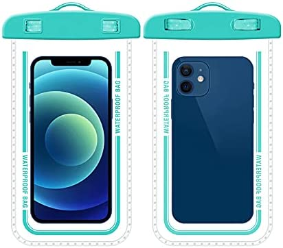 PERFECTSIGHT Clear TPU Waterproof Phone Pouch Fully Transparent, IPX8 Cellphone Pouch, Cell Phone Dry Bags, Up to 7.2'' for Kayak, Travel, Boating, Fishing, Hiking, 1 Pack (Blue)