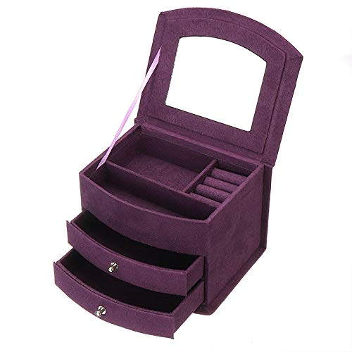 ExcLent 2 Colors Jewelry Box Flannel Dressing Storage Box Home Table Storage Girl Gifts - Púrpura