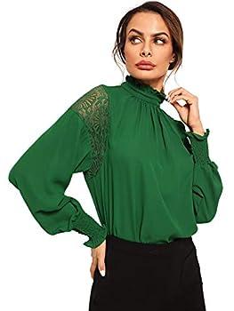 Floerns Women s Lantern Long Sleeve Stand Collar Chiffon Blouse Top A Green XL