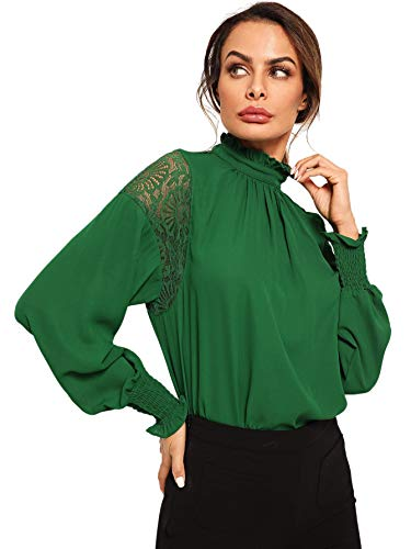 Floerns Women's Long Sleeve Stand Collar Lace Chiffon Blouse Top A Green M