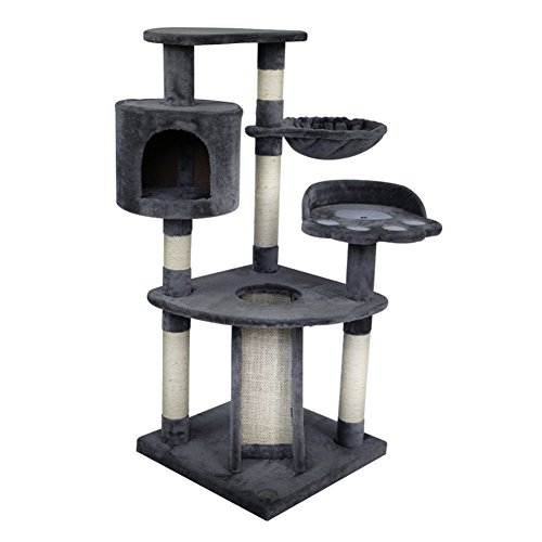 WX-WX Pet Supplies - Torre de juegos para gatos y árboles, centro de actividades fácil de instalar, color beige, gris oscuro, marrón, multifunción. gris oscuro