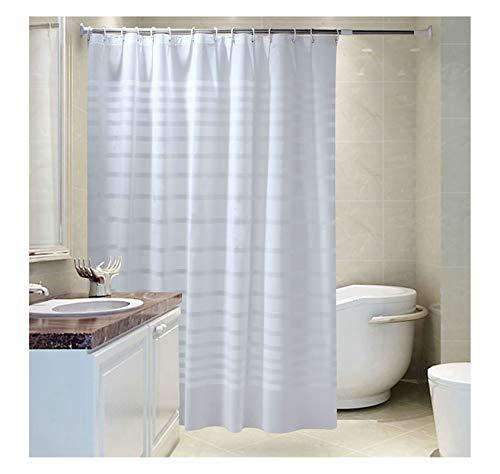 AiZnoY Polyester Duschvorhang Anti-Schimmel Wasserdicht An Badewanne Bad Vorhang Für Badezimmer Inkl. 12 Duschvorhangringen Streifen White 240X200Cm