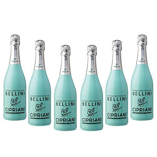 6x Cipriani aromatisierter Cocktail 'Bellini' mit Saft von weissen Pfirsichen, 750 ml