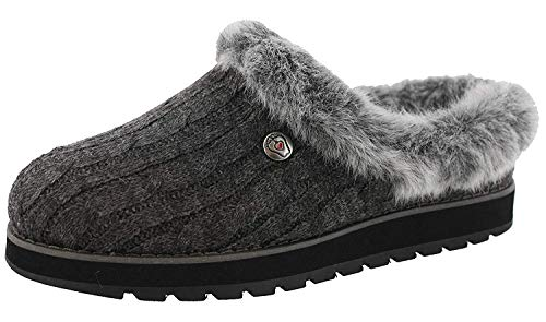 Skechers Keepsakes - Ice Angel Flache Hausschuhe Damen, Grau (Charcoal Cable Knit Sweater/Faux Fur Trim Ccl), 36 EU
