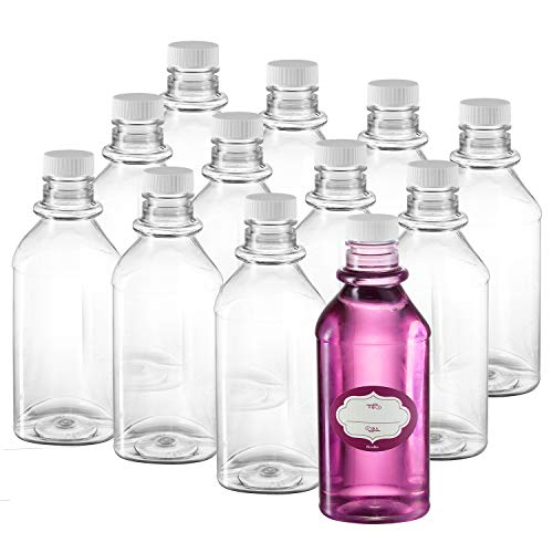 Pack of 12 – Triangle Plastic Bottles with Lids - Empty Bottles for Liquids – Travel Containers with Lids and Labels – BPA Free Food Safe - Great for Shampoo, Lotion, Conditioner, Mouthwash (12 Oz)