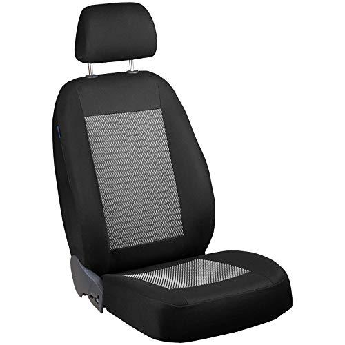 Zakschneider - Fundas de asiento para A3 8L 96-03 – Funda delantera del asiento del conductor – Color Premium negro y blanco