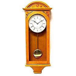 Jack David J&D Best Pendulum Wall Clock, Silent Decorative Wood Clock with Swinging Pendulum, Battery Operated for Living Room, Kitchen, Office & Home Décor (Light Wood-TQWW4133 = 25'' x 8'' x 3'')