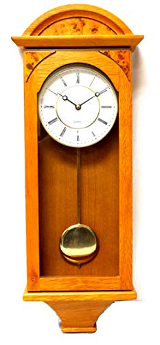 Jack David J&D Best Pendulum Wall Clock, Silent Decorative Wood Clock with Swinging Pendulum, Battery Operated for Living Room, Kitchen, Office & Home Décor (Light Wood-TQWW4133 = 25'' x 8'' x 3'')