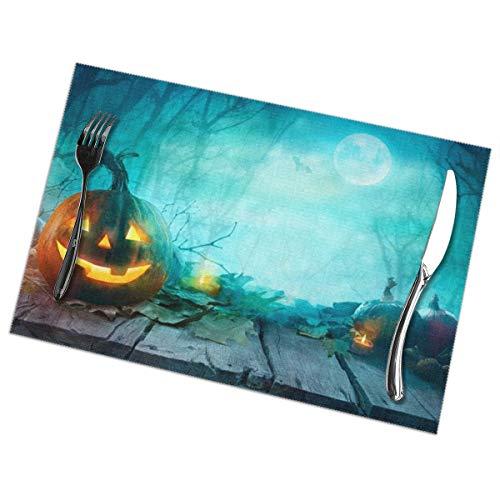 Dingl Halloween Pompoenen Op Hout Placemat Wasbaar Antislip Voor Keuken Diner Tafelmat, Gemakkelijk te reinigen Plaats Mat 12x18 Inch Set Van 6