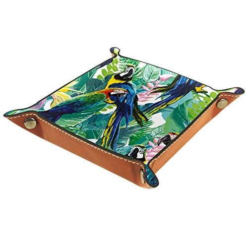 Nachttisch Valet Tray Organizer – Leder Kommode Organizer Box für Damen und Herren – Schmuck Zubehör Auffangtablett für Tisch Desktop bemalte Papageien tropische Pflanzen grün