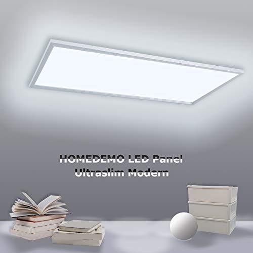 HOMEDEMO LED Deckenleuchte Kaltweiss LED Panel 120x30 cm Ultraslim Deckenleuchte für Wohnzimmer Schlafzimmer Küche Flur LED Deckenlampe mit Befestigungsmaterial und Trafo 40W Silberrahmen 6000K