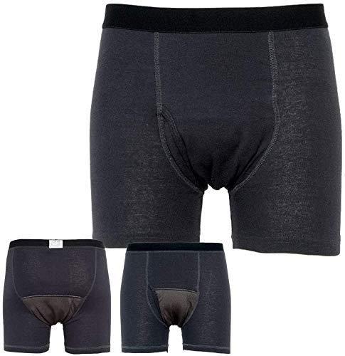 失禁パンツ 尿もれパンツ メンズ 男性用 ボクサーパンツ 吸収量150cc 前開き 2枚組み シミない 蒸れない 尿シミ 失禁対策 尿漏れ対策に チャコールグレー Sサイズ