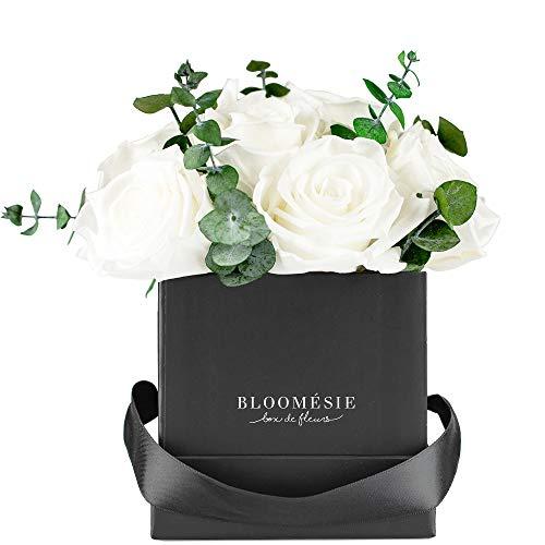 BLOOMÉSIE - Caja de rosa aromática con eucalipto en formato cuadrado con rosas de infinito y eucalipto, rosa eterna, Flowerbox