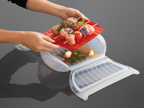Lekue Steam Case with Draining Tray for 3 to 4 Person, Clear