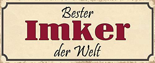 Deko7 Plaque en tôle Inscription Best Imker der Welt 27 x 10 cm