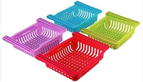 Caja De Almacenamiento Frigorífico Plástico Para Huevo, Verduras Y Frutas, Refrigerador Ajustable Rack Organizer Saver Saver, Paquete 4 Estante Colgante, Organizador Dibujos Nevera Extraíble