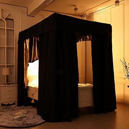 Obokidly Elegant Black 100% Lightproof 4 Corner Post Bed Curtain Canopy Bedroom Decoration for Adults Girls Boys Bed Canopies Child Gift (Queen, One Solid Black-Bed Curtain)