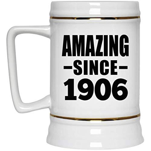 114th Birthday Amazing Since 1906-22oz Beer Stein Jarra de Cerveza, de Cerámica - Regalo para Cumpleaños Aniversario el Día de la Madre o del Padre