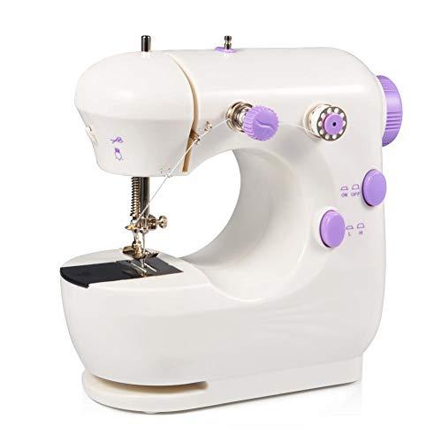 Qiter Mini máquina de Coser, máquina de Coser de Doble Velocidad para el hogar eléctrico en Miniatura púrpura